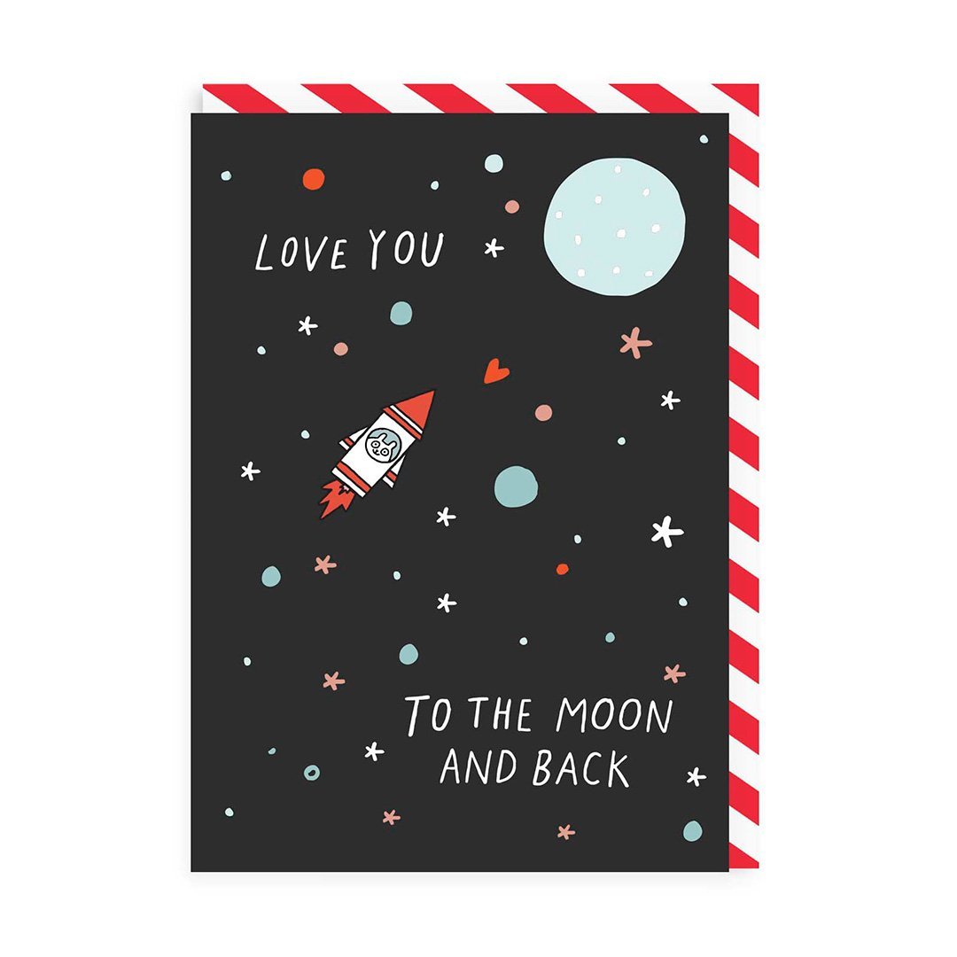 Hamster Moon And Back Greeting Card