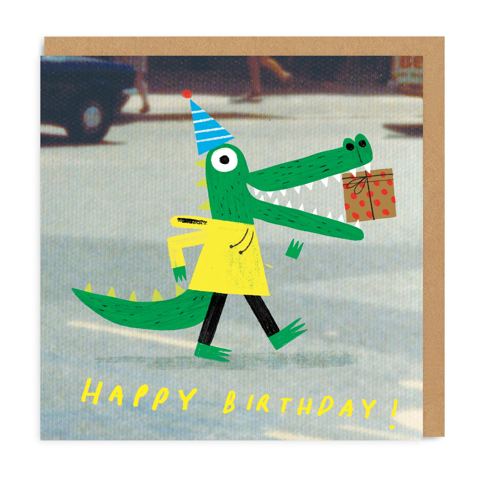 Crocodile Square Greeting Card