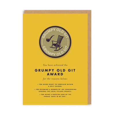 Grumpy Old Git Woven Patch Greeting Card