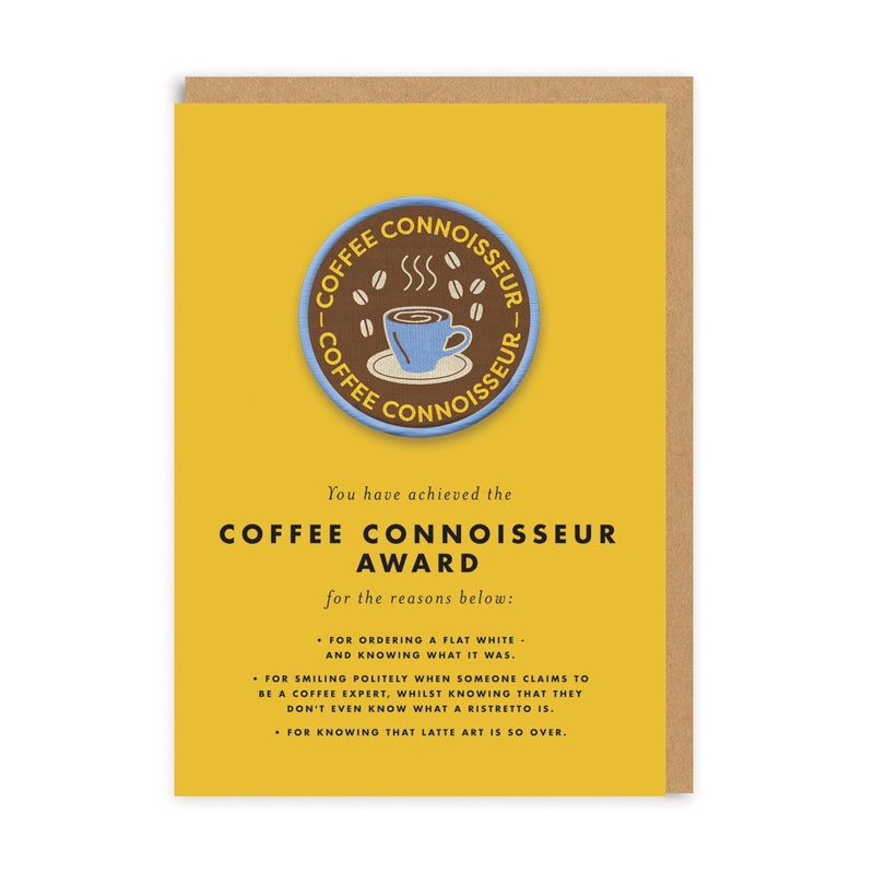 Coffee Connoisseur Woven Patch Greeting Card