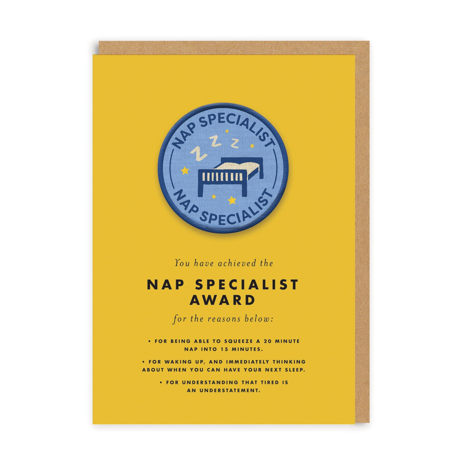 Nap Specialist Woven Patch Greeting Card