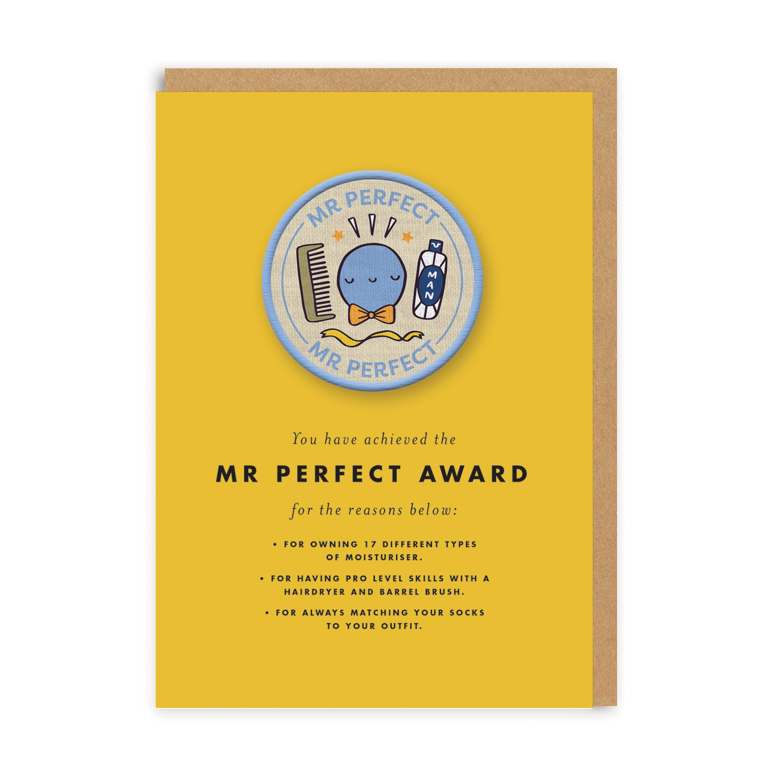 Mr Perfect Woven Patch Greeting Card
