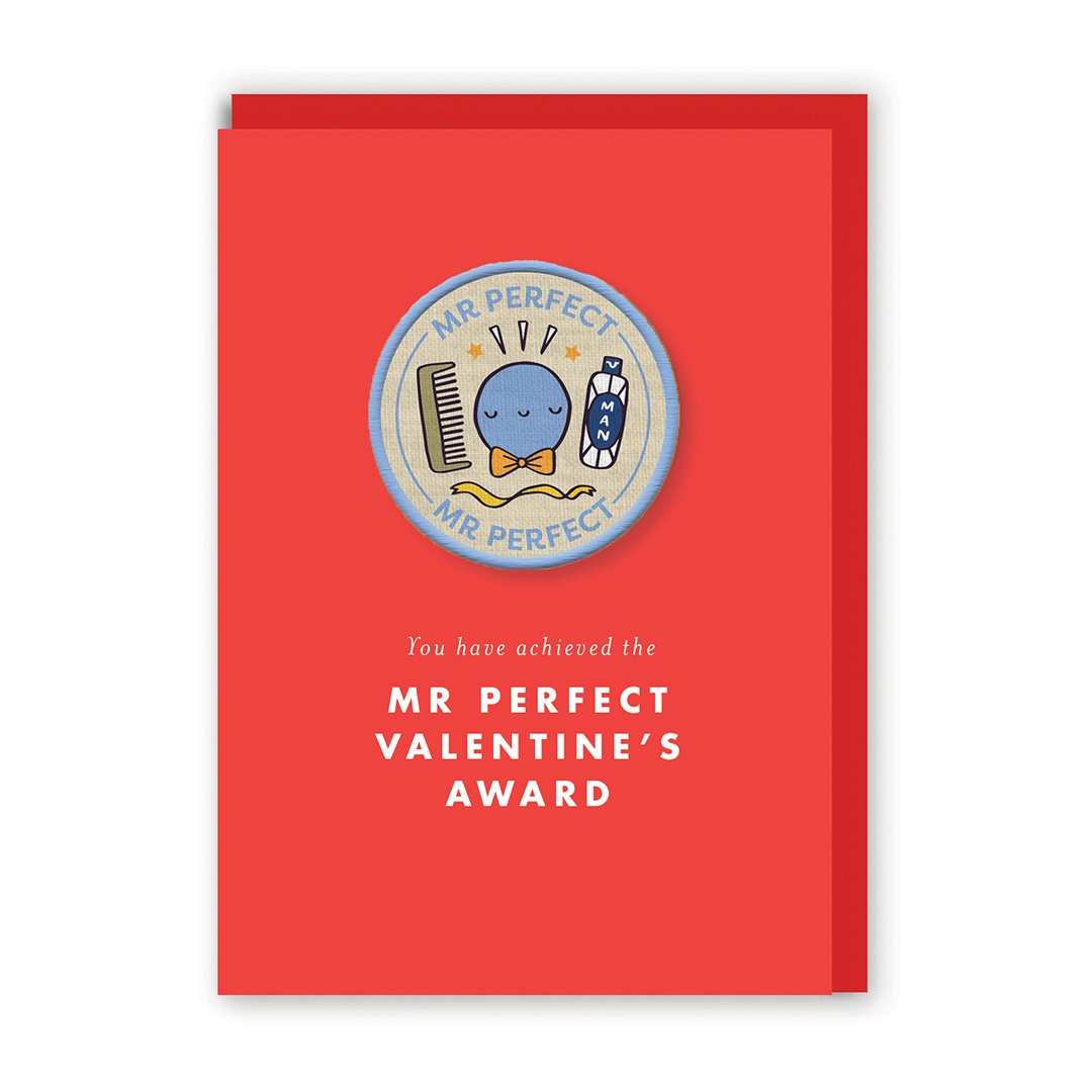 Valentine's Mr Perfect Woven Patch Greeting Card