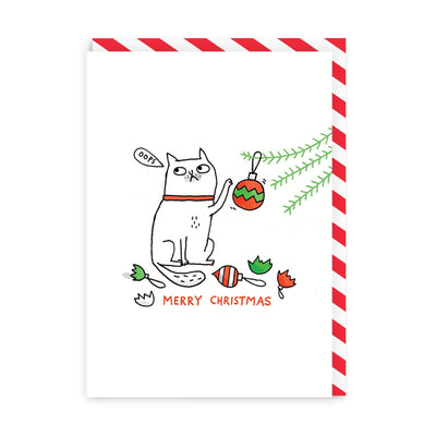 Oops Cat Merry Christmas Greeting Card