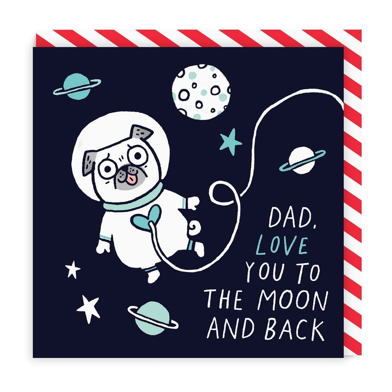 Dad, Love You To The Moon and Back Square Greeting Card