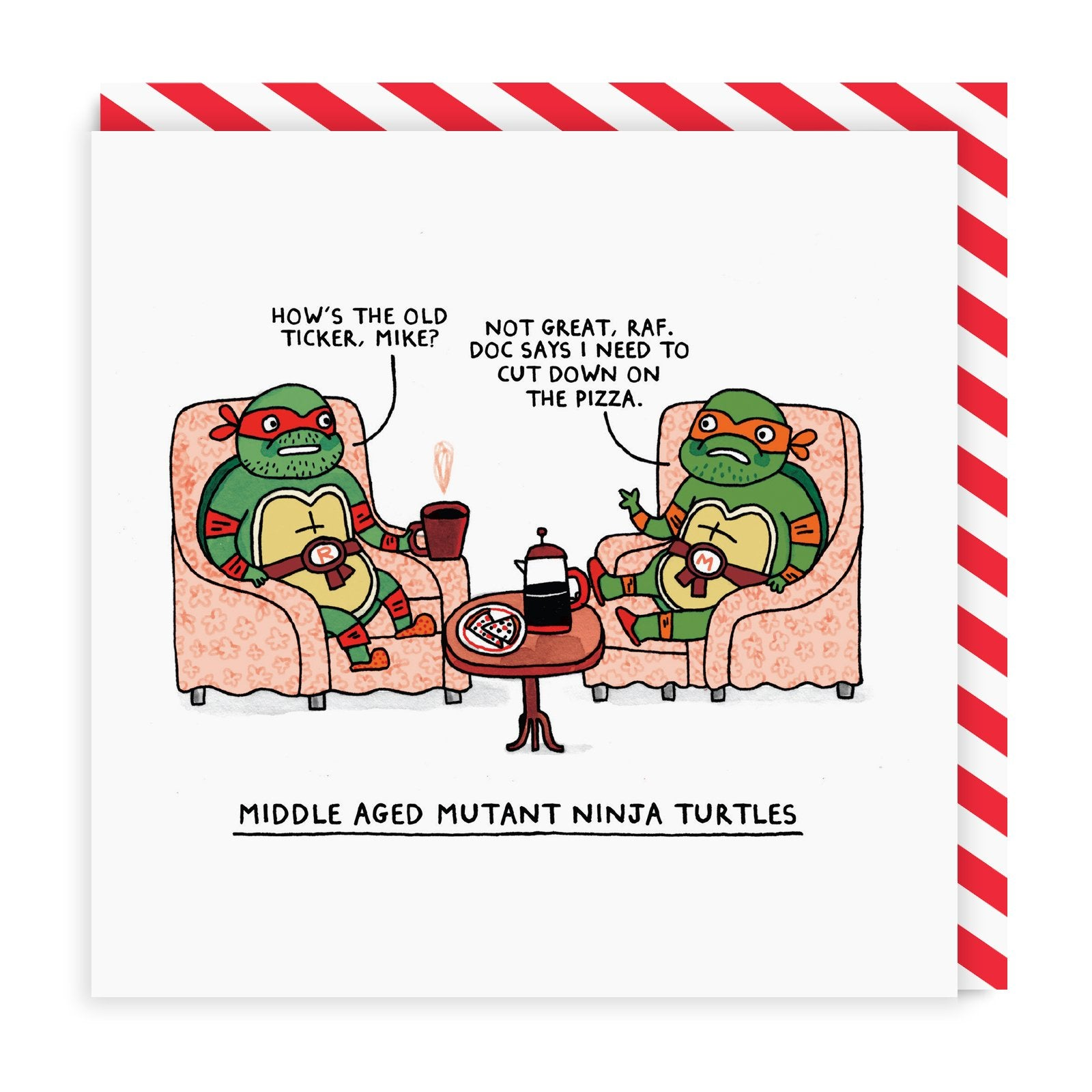 Middle Aged Ninja Turtles Square Greeting Card