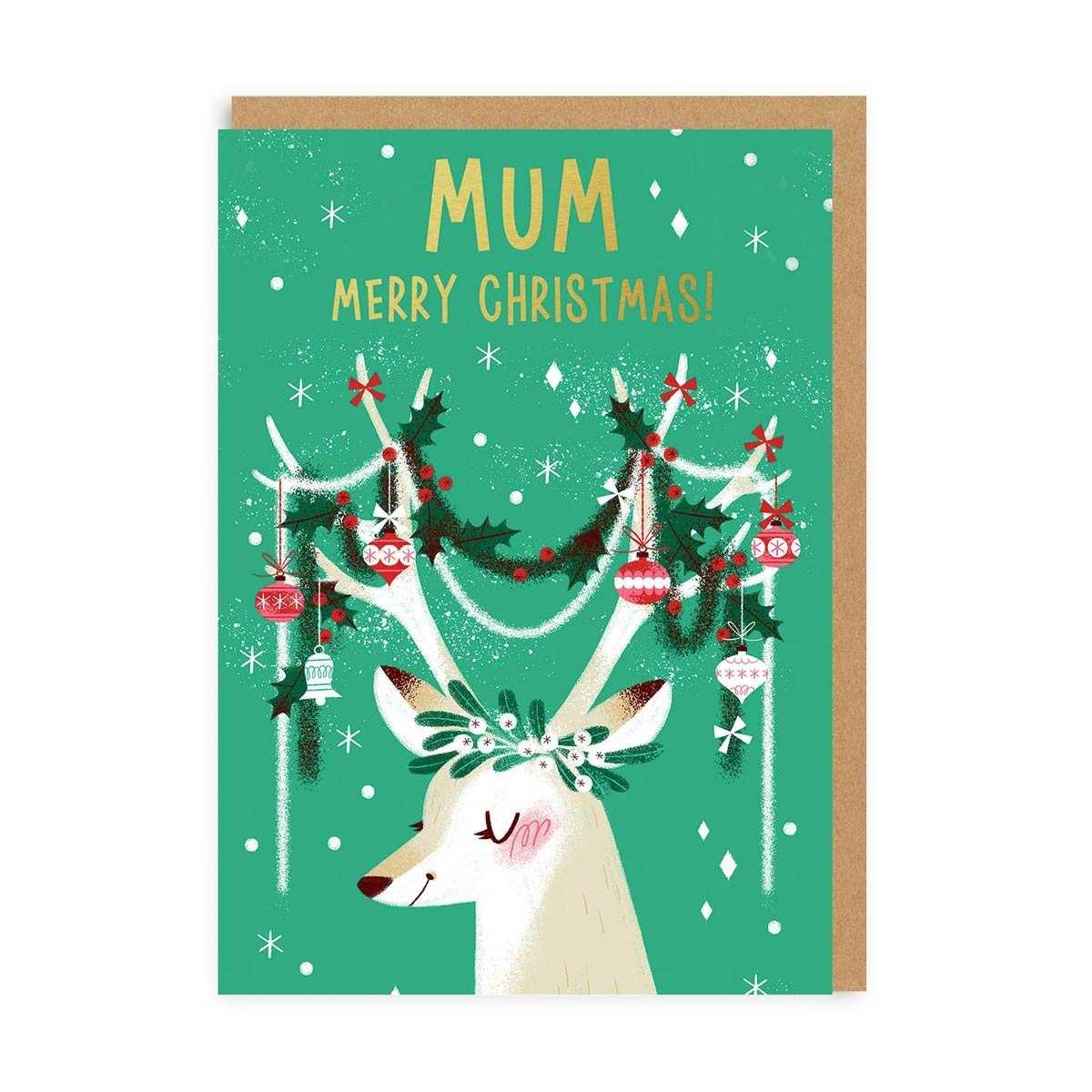 Festive Antlers Mum Greeting Card
