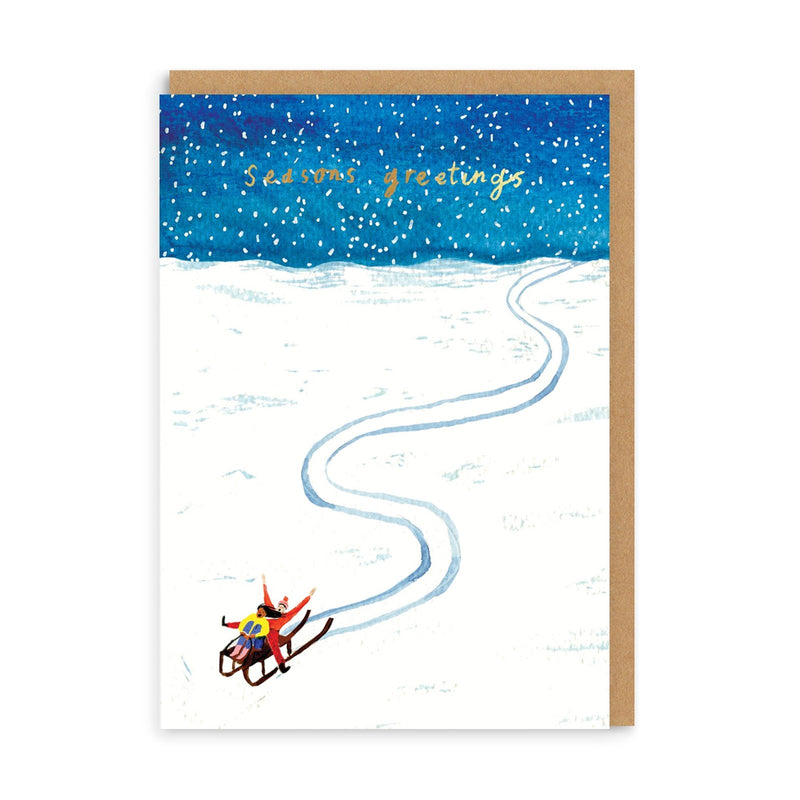 Sledging Merry Christmas Greeting Card