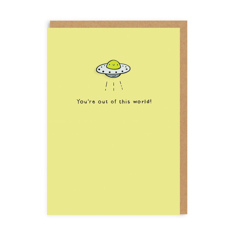 UFO Enamel Pin Greeting Card