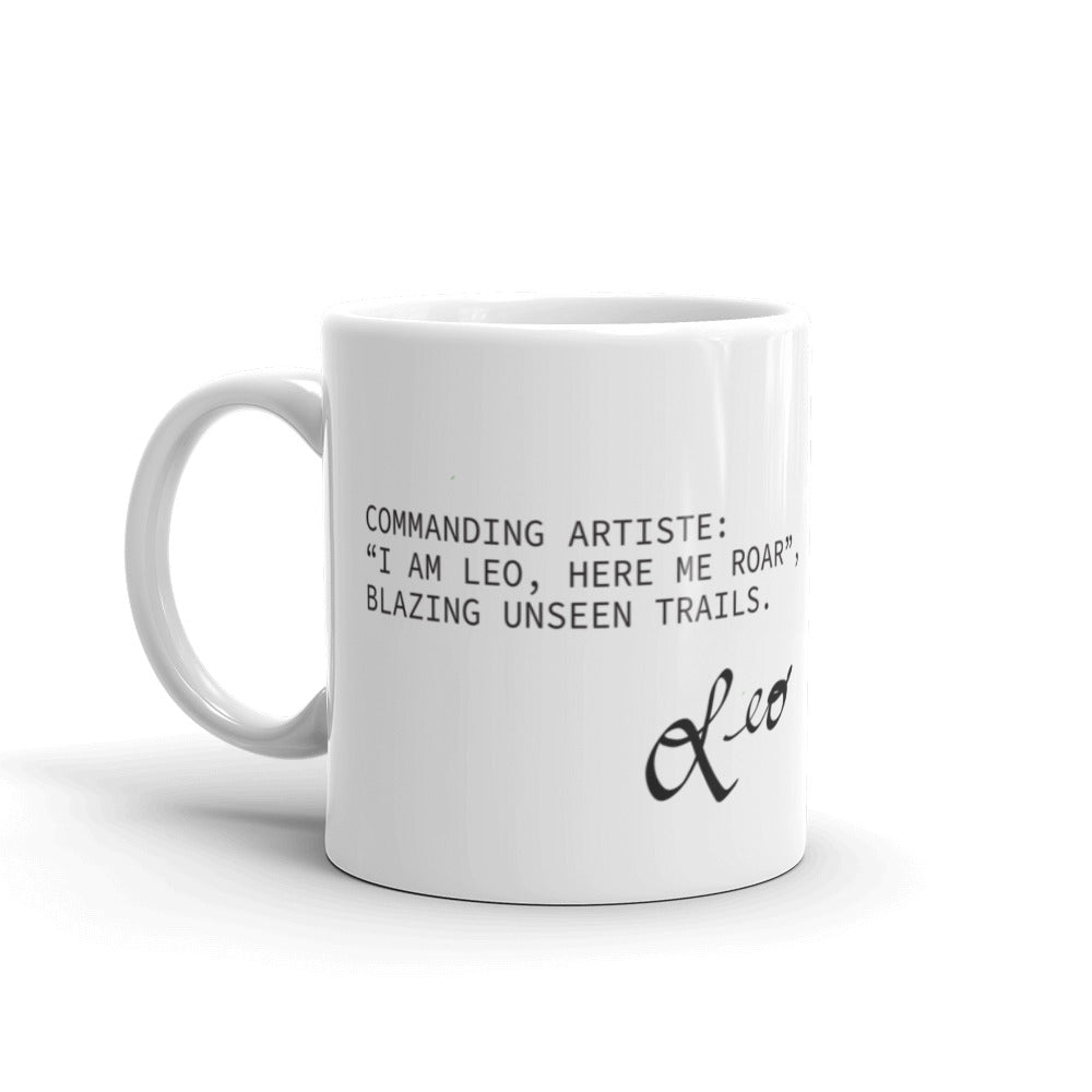 White coffee mug with haiku about Leo horoscope sign