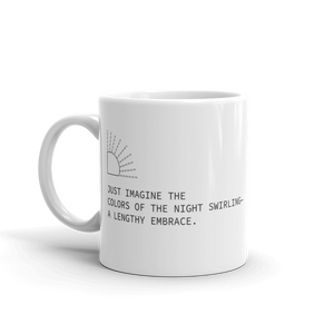 White coffee mug with haiku about colors of the night