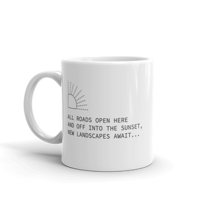 White coffee mug with haiku about open roads in sunset