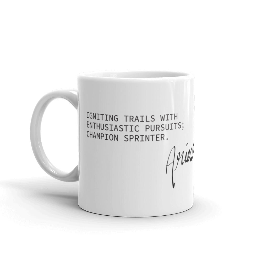 White coffee mug with haiku about Aries horoscope sign
