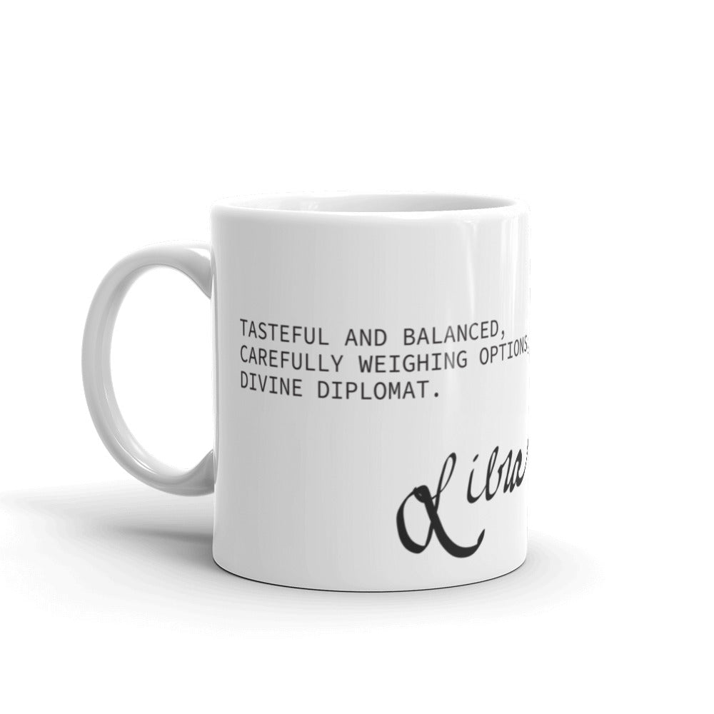 White coffee mug with haiku about Libra horoscope sign