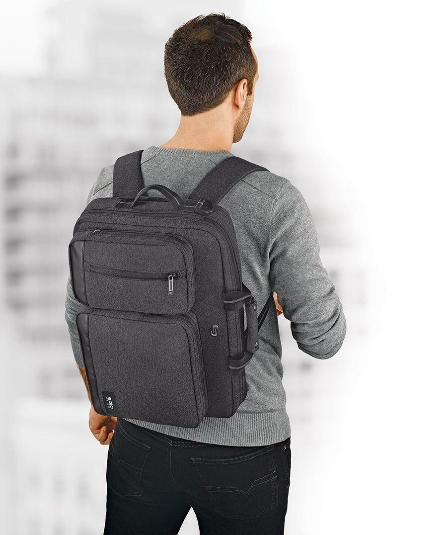 Image result for Solo Duane 15.6 Inch Laptop Hybrid Briefcase, Converts to Backpack, Grey