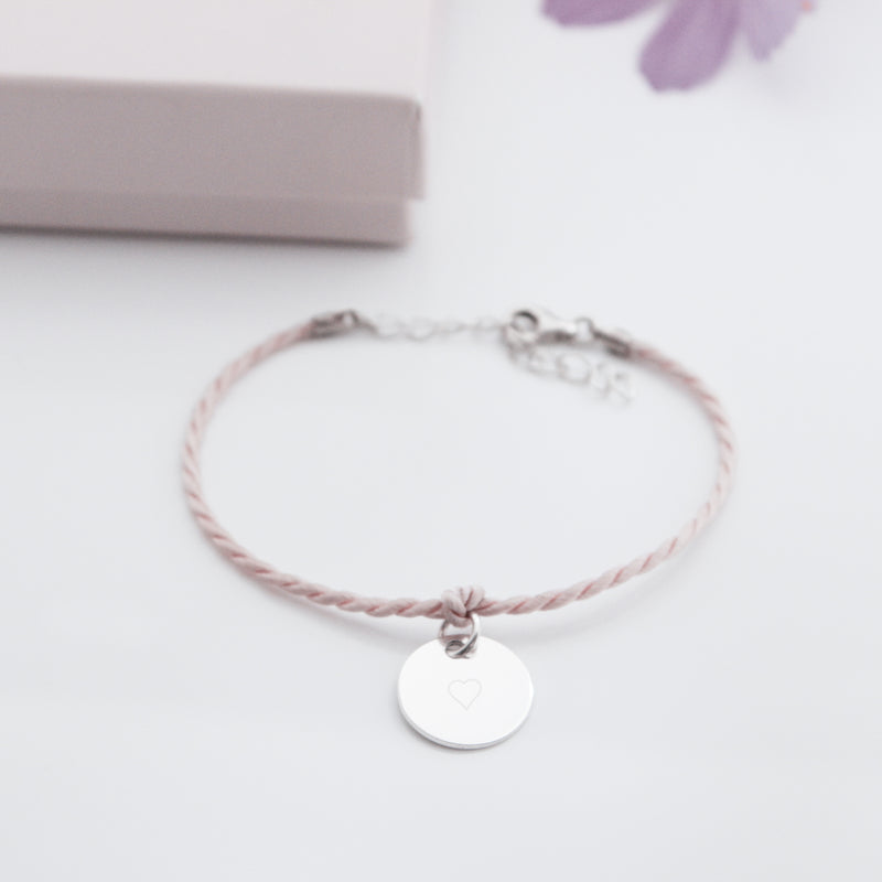 Baumwoll- Armband mit Text. Silber oder Roségold. Farbauswahl