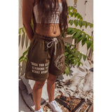 """HIGHER LEARNING"" SHORTS OLIVE GREEN"