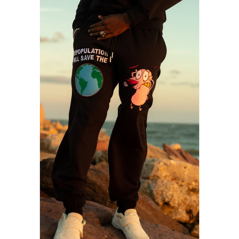 """DEPOPULATION CONTROL""  SWEATPANTS (BLACK)"