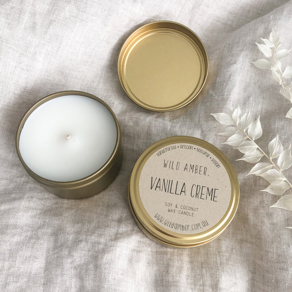 Wild Amber - Travel Tin Candle - Vanilla Creme - Vorfreude Stationery