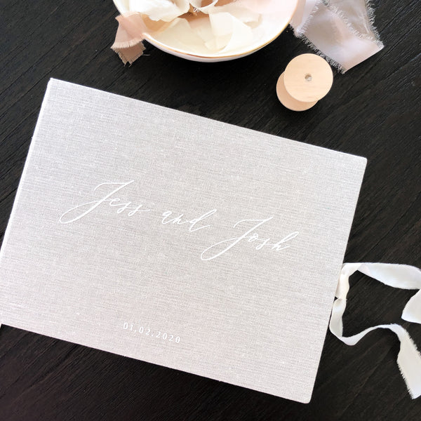 *PRE-ORDER CLOSED* Linen Wedding Guest Book - Cloud - Vorfreude Stationery