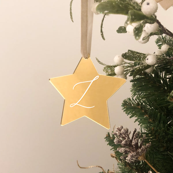 Personalised Acrylic Star Bauble Ornament - Vorfreude Stationery