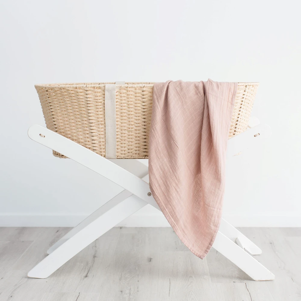 Love & Lee - Organic Cotton Muslin Swaddle Wrap - Dusty Pink - Vorfreude Stationery