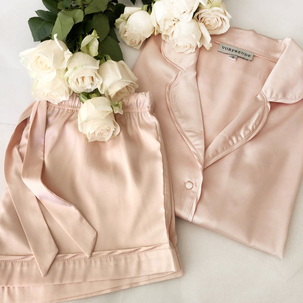Slumber Set in Rosé (Long Sleeve Pyjama Top & Short) - Vorfreude Stationery