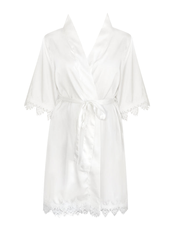 Lace Trim Personalised Bride Satin Robe - Vorfreude Stationery