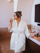 Lace Trim Personalised Bride Satin Robe
