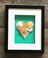 Dimensional Paper Collages, Shell Hearts, Mermaids, Money Tree and Maps