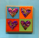9 fused Dichroic glass hearts, 4 Hearts, Single Hearts and 4 Cats