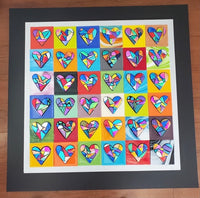 "25 fused dichroic glass hearts 24""x24"""
