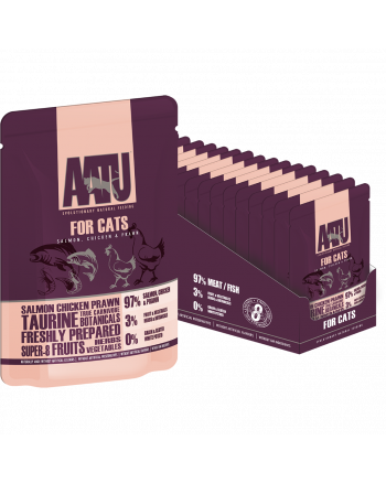 AATU for cats salmon, chicken & prawn wet pouch