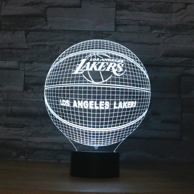 LED NBA Team 3D Optical Illusion Smart 7 Colors Night Light Table Lamp with USB Power Cable