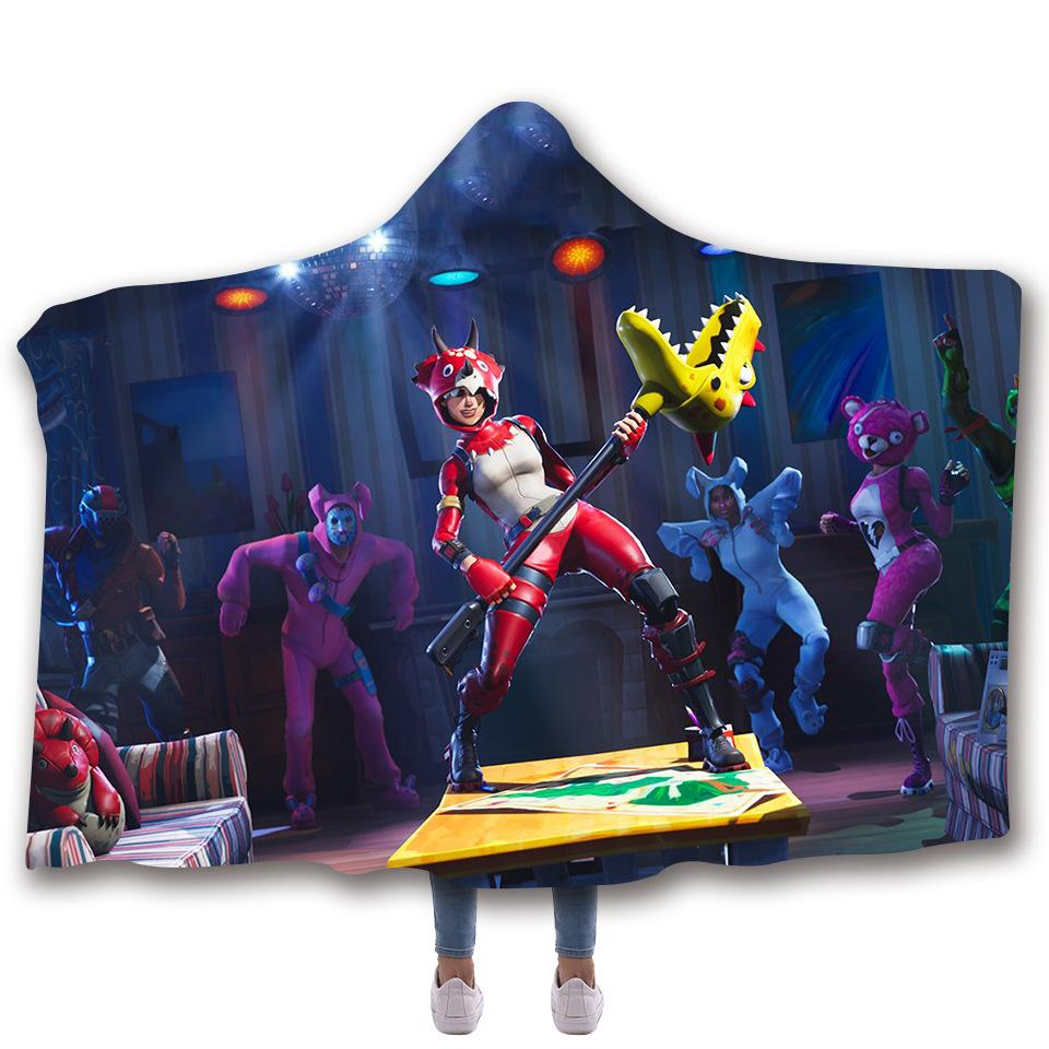 Fortnite Cape fortnite 3d digital printed hooded and thickened double cape blanket for  kids and adults