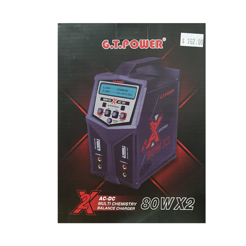 G.T. Power – Pro Duo 80W X2 Dual AC DC 7A LiPo LiHV NiMH RC Battery Balance Charger #GT-X2 Charger