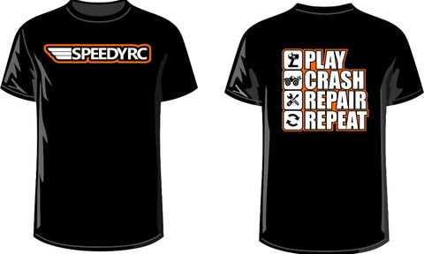 Team Speedy Rc T Shirts Novelty PLAY CRASH REPAIR REPEAT Black XL