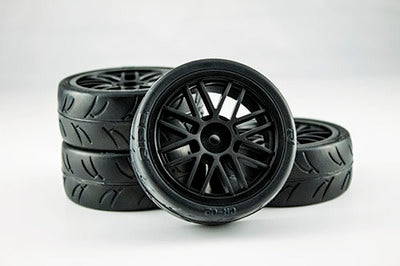 USGT Pre Glued Tires ( GT Wheel, Black) GRC124GTB