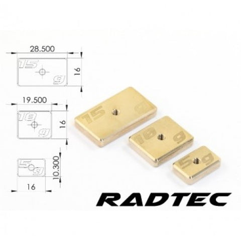 CNC Machined Precision Balancing Chassis Weights, 15g x2 (AC-40003)