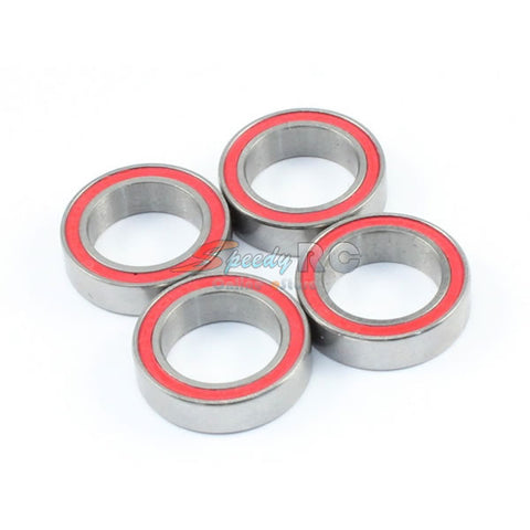 Radtec 10x15x4mm Competition Grade Ceramic Ball Bearing 4 pcs Red Rubber Seal