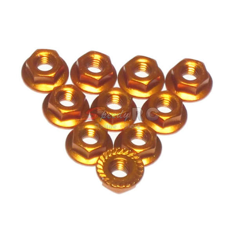Yeah Racing 4mm Aluminium Serrated Lock Nut 10pcs (OR)