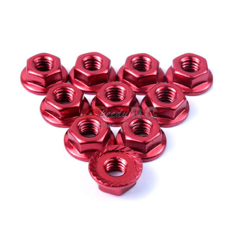 Yeah Racing 4mm Aluminium Serrated Lock Nut 10pcs (RD)