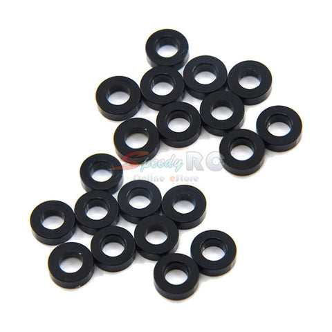 Yeah Racing Aluminum M3 Flat Washer 2mm 20pcs Black YA-0395BK