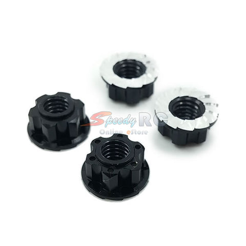 Yeah Racing 4mm Aluminium Wheel Flange Lock Nut 4pcs Black YA-0448BK