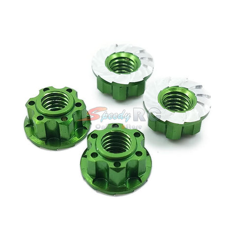 Yeah Racing 4mm Aluminium Wheel Flange Lock Nut 4pcs Green YA-0448GN