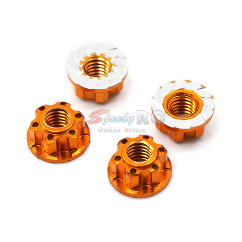 Yeah Racing 4mm Aluminium Wheel Flange Lock Nut 4pcs Orange YA-0448OR