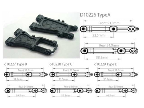 FRONT 52/30.5MM AND REAR 55/40.5MM SUSPENSION ARM SET TYPE D GRAPHITE [O10233]