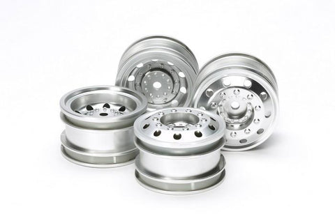 Tamiya Team Hahn Racing MAN TGS Semi-truck Wheels Front Rear 4Pcs Silver #51588