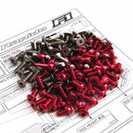 Titanium and Red Aluminium hex head screw set - 86pcs (Roche Rapide F1 2016)