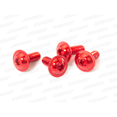 B01308F-AR - M3X8MM ALU FLANGE BUTTON HEAD SCREW (RED/4PCS)